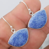 Natural Dumortierite Quartz 925 Sterling Silver Earrings Jewelry 8018