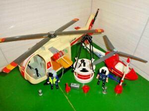 PLAYMOBIL Base 3789 + 4824 Hélicoptère Sauvetage Secours Pompiers VINTAGE 7