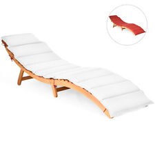 Folding Chaise Lounge Chair Sofa Outdoor Wood Bench Garden Patio w/ Cushion