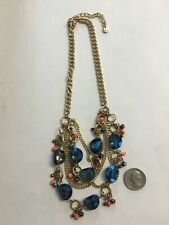 Beautiful Multi Chain Blue Iridescent Beaded Necklace From China