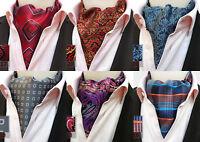Red Yellow Blue Grey Purple Orange Patterned 100% Silk Cravat Ascot Tie