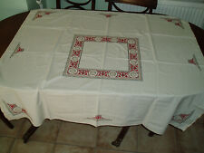 "VINTAGE LINEN EMBROIDERED TABLE CLOTH 50"" x 47"""