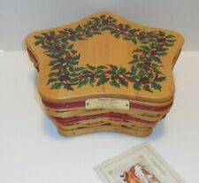 New ListingLongaberger 2001 Christmas Red Shining Star Basket Liner Protector Holly Lid