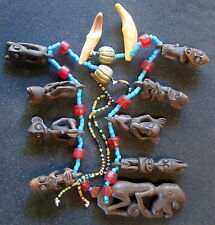 Vintage Dayak fethish necklace. Rare and choice piece. Circa 1950-60. Free ship