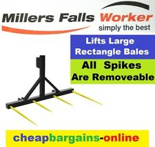 HAY BALE FORK BALE SPEAR BALE SPIKE 3PL LIFT LARGE RECTANGLE HAY BALES REMOVABLE