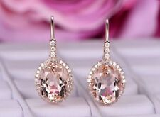 4Ct Oval Cut Morganite Diamond Drop/Dangle Earrings Solid 14K Rose Gold Finish