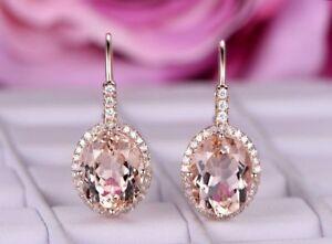 4Ct Oval Cut Morganite Diamond Drop/Dangle Earrings Solid 14K Rose Gold Finish.