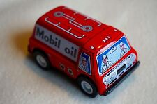 """VINTAGE Sanko New Metal Tin Toy Friction Mobil Oil Truck Car Made in Japan 3"""""""