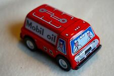 """NEW VINTAGE Sanko Metal Tin Toy Friction Mobil Oil Truck Car Made in Japan 3"""""""