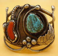 Vintage NAVAJO Sterling Silver CORAL & TURQUOISE Cuff BRACELET