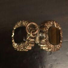 Antique Victorian Gold Tone Metal Tiger's Eye & Onyx Locket