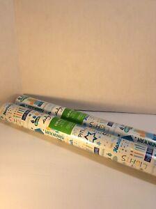 "2 ""Hanukkah"" Design Design Gift Wrap Paper 30""x10' ea White, Blue, Orange, Gold"