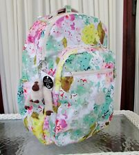 Kipling Seoul Large Backpack Luscious Florals White Laptop Travel School Bag NWT