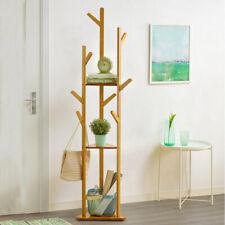 Wooden Floor Clothes Hat Coat Rack Tree Hall Stand Hanger 3 Layer Shelf 9 Hooks