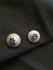 "Black And White Diamond Sterling Silver ""Deco"" Earring"