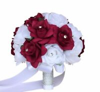 "10"" White and Apple Wedding Bridal Bouquet - Quality Keepsake Artificial Roses"