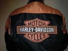 Men's Harley-Davidson Jacket sz XL Full Zip Orange/Black Nylon-97068-00V