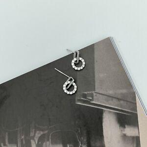 925 Sterling Silver Zircon Circle Stud Earrings