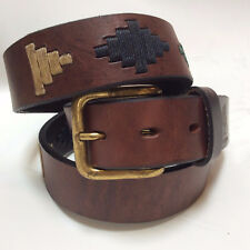 """""""Inca"""" 100% Argentine Leather Embroidered Polo Belt with Waxed Threads"""