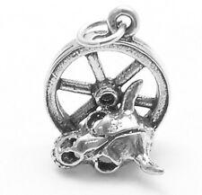 925 Sterling Silver Wagon Wheel and Bull Skull Charm