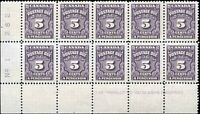 Mint NH Canada 1948 VF Block of 10 Scott #J18a 5c Postage Due Stamps