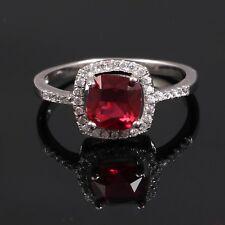 925 Sterling Silver Lab Created Ruby & Diamond Wedding Ring Free Shipping AJ18