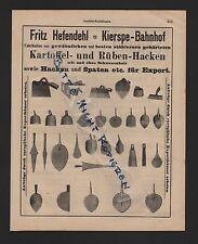 KIERSPE, Anzeige 1909, Fritz Hefendehl Kartoffel-Rüben-Hacken