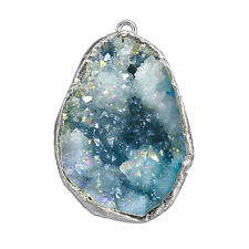 Druzy Geode bleu Dropper plaqué argent pendentif 20x30mm (D62/8)