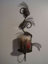 Metal Brown Candle Holder Wall Mount with Woodland Spice Candle Cabin Lodge new