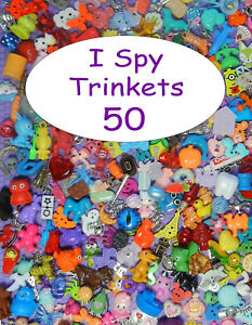 SMALL TRINKETS (50) for I spy bags, I spy bottles, sensory bins, games