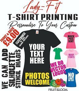 Ladies T shirt Printing Womens Custom Ladyfit Hen Personalised Text Logos Photo