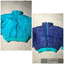 Vtg Columbia PUFFER Nylon Duck Down Coat Jacket REVERSIBLE Teal Blue SZ Mens M