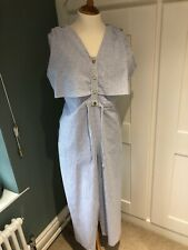 Zara Jumpsuit Blue And White Stripe V-Neck BNWT Size XL