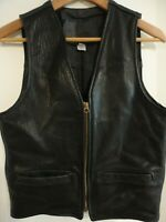 BRANDED GARMENTS INC Vintage Black Leather Vest Gripper Zipper 38 Made in USA