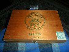 Vintage OLIVEROS 25 Reyes Peach Wood Cigar Display Box VG !