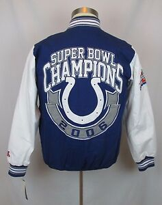 NFL Indianapolis Colts 2006 Super Bowl Mens Letterman Jacket S/CH Navy