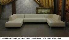 3PC Gorgeous Modern leather U shape set in Ivory leather #1707