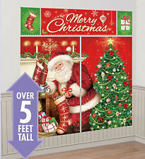 SANTA CLAUS Scene Setter Christmas party wall decoration kit over 5' eve tree