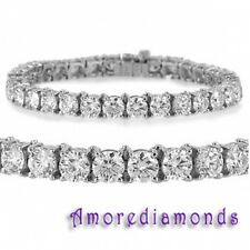 15.60 ct G SI1 round ideal cut natural diamond 4prong tennis bracelet white gold