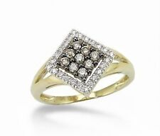 10K Yellow Gold Chocolate Brown Diamond Ring .25ct White Diamond Accents Cluster