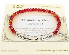 WOMEN OF GOD Proverbs 31 Red Beads & Silvertone Stretch Bracelet-Prayer Card