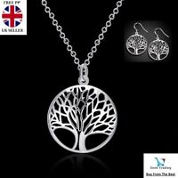 Women's 925 Sterling Silver Tree of Life Necklace Pendant Earrings Charm Set UK