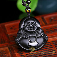 100% Natural Black Obsidian Hand-carved Buddha Lucky Amulet Pendant Necklace New