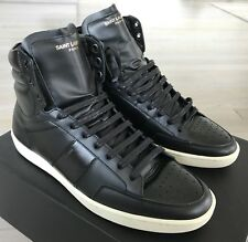 800$ Saint Laurent Black Leather High Tops Sneakers size US 15, Made in Italy