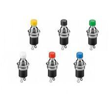 6 x Miniatur Drucktaster Metall 1-polig 2 Kontakte Schließer 0,5A Bunt 11969