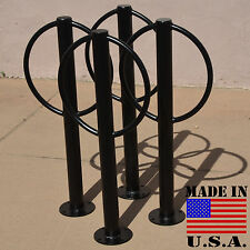 4 Commercial 2 Bike Racks - Parking Flange Bollard Outdoor Post Ring Loop Stand