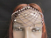 WOMEN PEWTER METAL FOREHEAD  HEAD CHAIN FASHION JEWELRY SILVER MULTI RHINESTONES