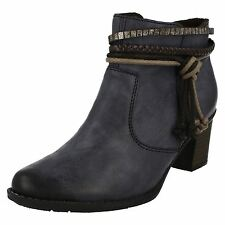 Ladies Rieker L7658 Blue Casual Warm Lined Heeled Ankle Boots