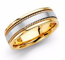 Mens Ring 14K Gold Wedding Band 6mm Dome Bridal Jewelry Size 6-13