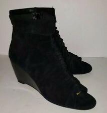 NINE WEST black Suede Ruched Peeptoe Wedge Heels Zip ankle Booties 8.5